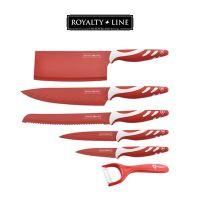 Noži 5/1 set z rdečo Antibakterijsko Keramično Prevleko + keramični lupilec - Royalty Line Switzerland (RL-RED5C)