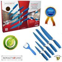 Kuhinjski noži z antibakterijsko prevleko 5/1 + lupilec - modri (RL-BLU5-W)