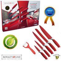Kuhinjski noži z antibakterijsko prevleko 5/1 + lupilec - rdeči (RL-RED5-W)