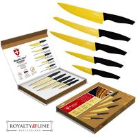 Komplet vzdržljivih nožev iz Damascus jekla in Titaniuma – Royalty Line Switzerland (RL-DM5G)