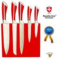 Noži iz nerjavečega jekla Royalty Line – 6 delni set rdeče barve(RL-MG5R)